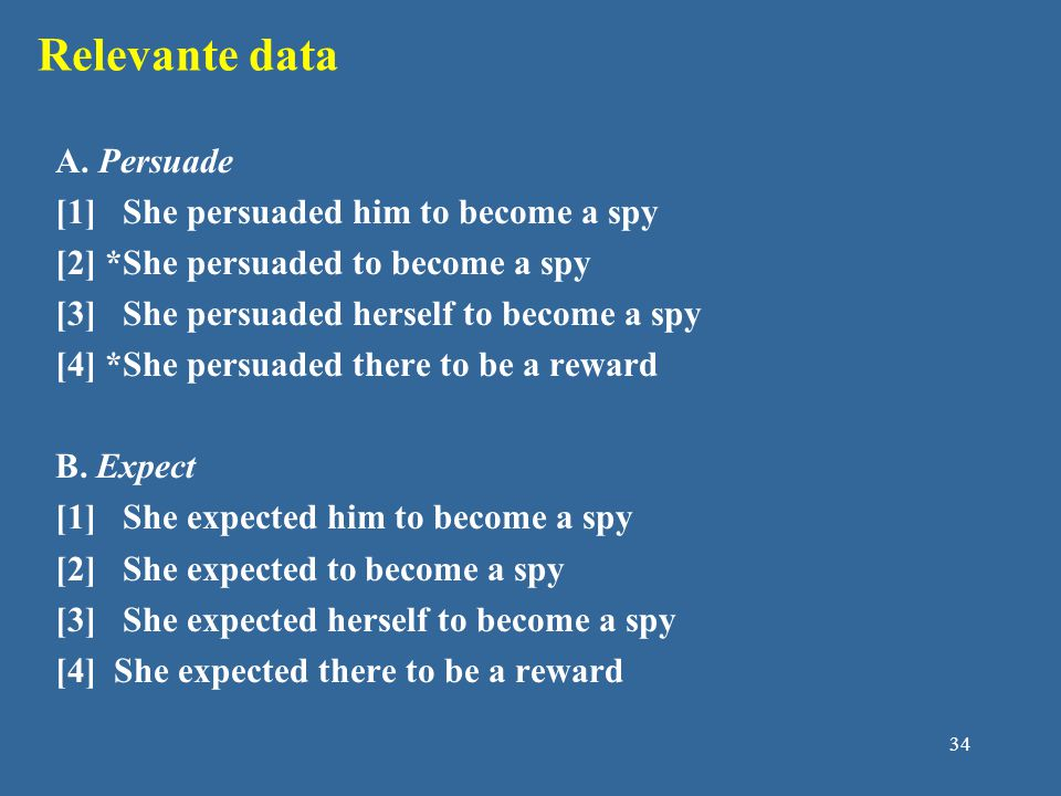 Relevante data A. Persuade [1] She persuaded him to become a spy